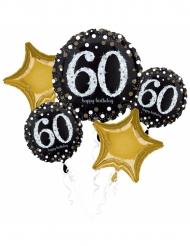 Bouquet 5 palloncini alluminio 60 anni nero e oro