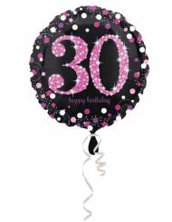 Palloncino alluminio Happy Birthday 30 anni nero e fucsia