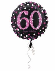 Palloncino alluminio Happy Birthday 60 anni nero e fucsia