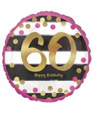Palloncino alluminio Happy Birthday 60 anni oro e fucsia