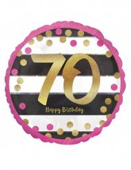 Palloncino alluminio Happy Birthday 70 anni fucsia e oro