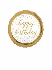Mini palloncino alluminio Happy Birthday oro e pastello