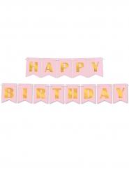 Ghirlanda di carta Happy Birthday rosa e oro