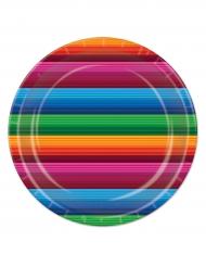 8 piatti in cartone a righe in stile messicano 23 cm