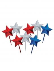 8 bastoncini decorativi con stella USA