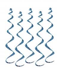 5 sospensioni a spirale blu con fiocchi di neve