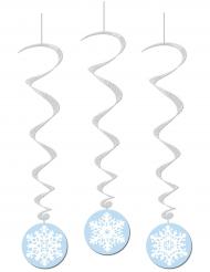 3 sospensioni a spirale con fiocchi di neve