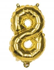 Palloncino alluminio oro 36 cm numero 8