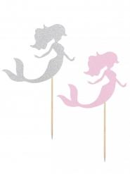 2 bastoncini decorativi sirena rosa e argento