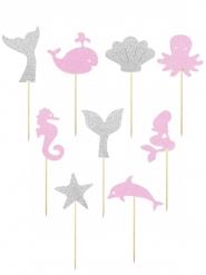 9 bastoncini decorativi sotto i mari rosa e argento