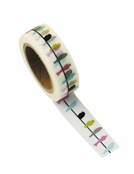 Washi tape bianco rondini multicolor