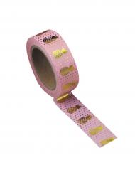 Washi tape rosa ananas oro