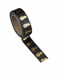 Washi tape nero ananas oro