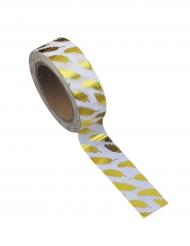 Washi tape bianco piume oro
