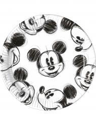 25 piatti in cartone Topolino™ bianco e nero 23 cm