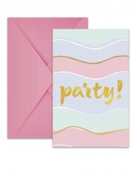 6 inviti per festa con buste party pastello