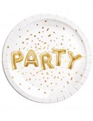 8 piatti in cartone Party bianco e oro 23 cm