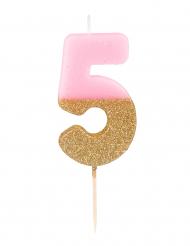 Candelina numero 5 rosa e oro