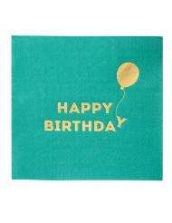 16 tovagliolini verdi Happy Birthday oro