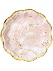 8 piatti in cartone effetto marmo rosa e oro 23 cm