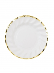 12 piattini in cartone stile porcellana bordo oro 18 cm