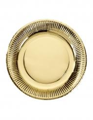 8 piatti in cartone dorati 23 cm