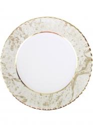8 grandi piatti in cartone porcellana oro e bianco 28 cm