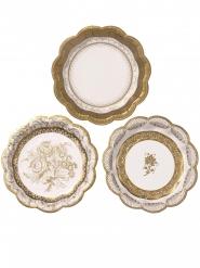 12 piattini in cartone stile porcellana oro e bianco 18 cm