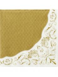 20 tovaglioli di carta stile porcellana bianco e oro