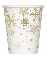 8 bicchieri in cartone fiocchi di neve bianchi e oro