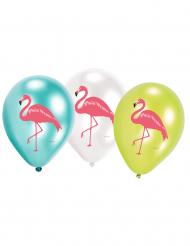 6 palloncini in lattice Flamingo Paradise