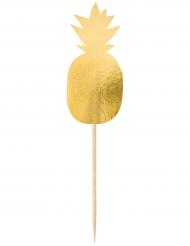 20 stecchini decorativi con ananas dorate