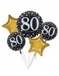 5 palloncini alluminio 80 anni nero e oro