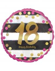 Palloncino alluminio Happy Birthday 18 anni fucsia e oro