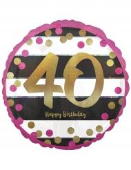Palloncino alluminio Happy Birthday 40 anni fucsia e oro
