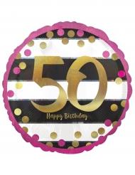Palloncino alluminio Happy Birthday 50 anni fucsia e oro