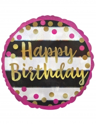 Palloncino alluminio Happy Birthday fucsia e oro