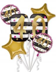 5 Palloncini alluminio 40 anni fucsia e oro