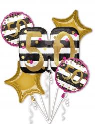 5 Palloncini alluminio 50 anni fucsia e oro