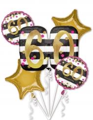 5 Palloncini alluminio 60 anni fucsia e oro
