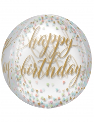 Palloncino trasparente Happy Birthday oro e pastello