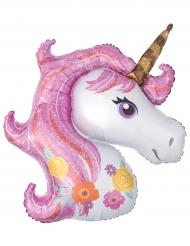 Palloncino alluminio testa unicorno con criniera rosa