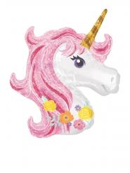 Mini palloncino alluminio testa di unicorno con fiori