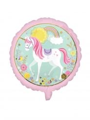 Mini palloncino alluminio rotondo rosa con unicorno