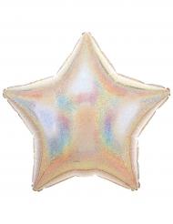Palloncino alluminio stella argento iridescente