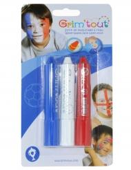 3 matite per trucco bianco rosso e blu Grim'Tout