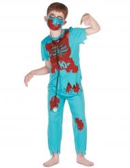 Costume blu dottore zombie per bambino