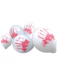 10 palloncini bianchi mani insanguinate