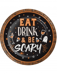 8 piattini in cartone Eat, Drink and Be Scary 18 cm