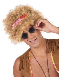 Parrucca Afro Hippie bionda per adulto